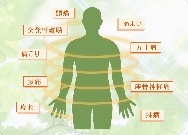 頭痛/突発性難聴/めまい/肩こり/五十肩/腰痛/座骨神経痛/痺れ/膝痛