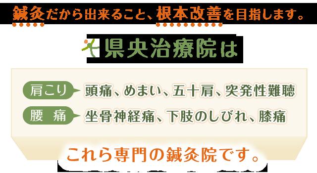 神奈川県厚木市の肩こり・腰痛等専門の鍼灸院、県央治療院